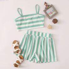 Crop Cami Top mit Streifen & Shorts Set