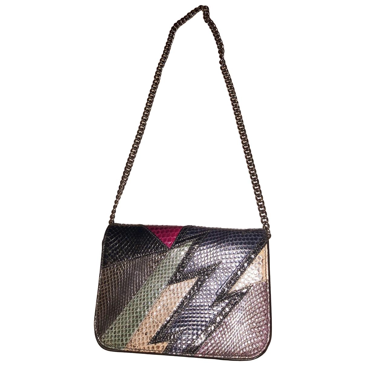 Roberto Cavalli - Pochette   pour femme en cuir - multicolore