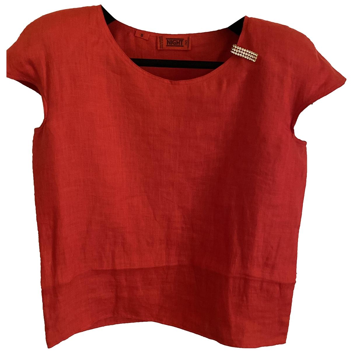 Valentino Garavani - Top   pour femme en lin - rouge