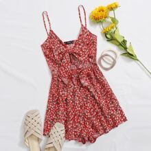 Ditsy Floral Bow Cutout Cami Romper