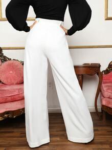 Fold Pleated Wide Leg Pants