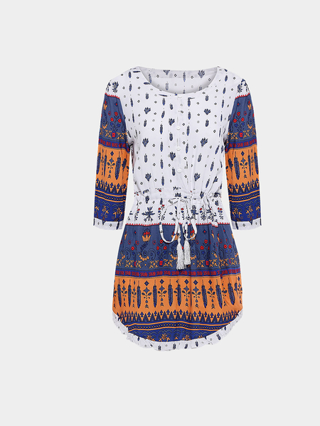 Yoins Multicolor Drawstring Floral Loose Dress