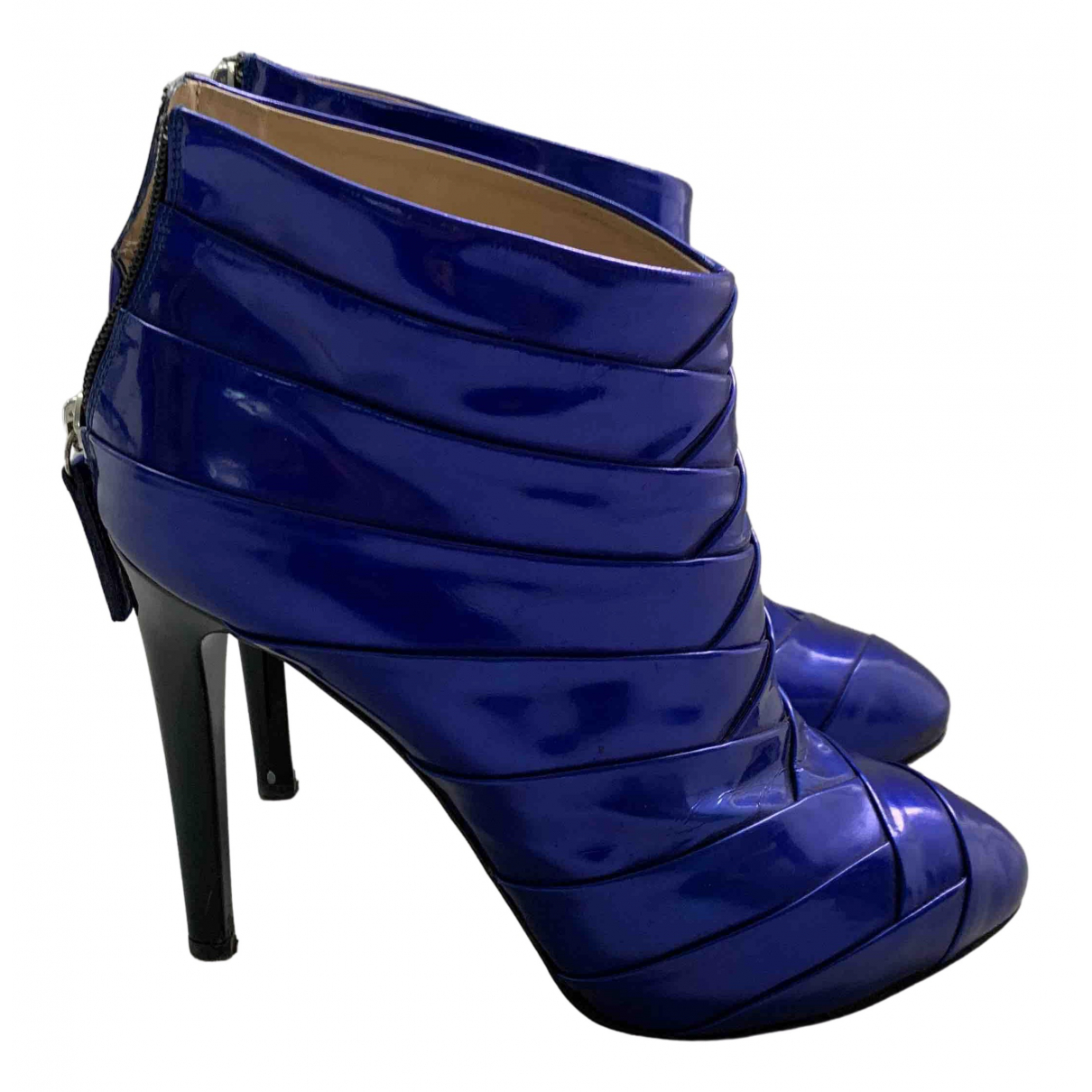 Giuseppe Zanotti \N Blue Patent leather Ankle boots for Women 39.5 EU