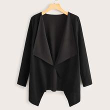 Draped Collar Open Front Coat