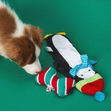 2pcs Christmas Penguin & Bone Design Dog Toy