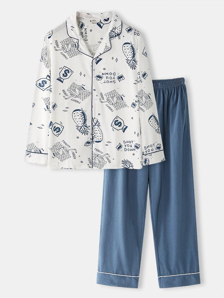 Cartoon Printing Long Sleeve Loungewear Sets Comfy Shirts Design Pajamas