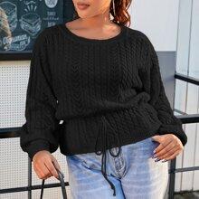 Plus Pointelle Knit Drawstring Waist Sweater