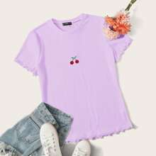 Plus Lettuce Trim Embroidered Cherry Tee