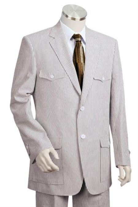 100% Cotton 2Button Lightweight Suit in Blue