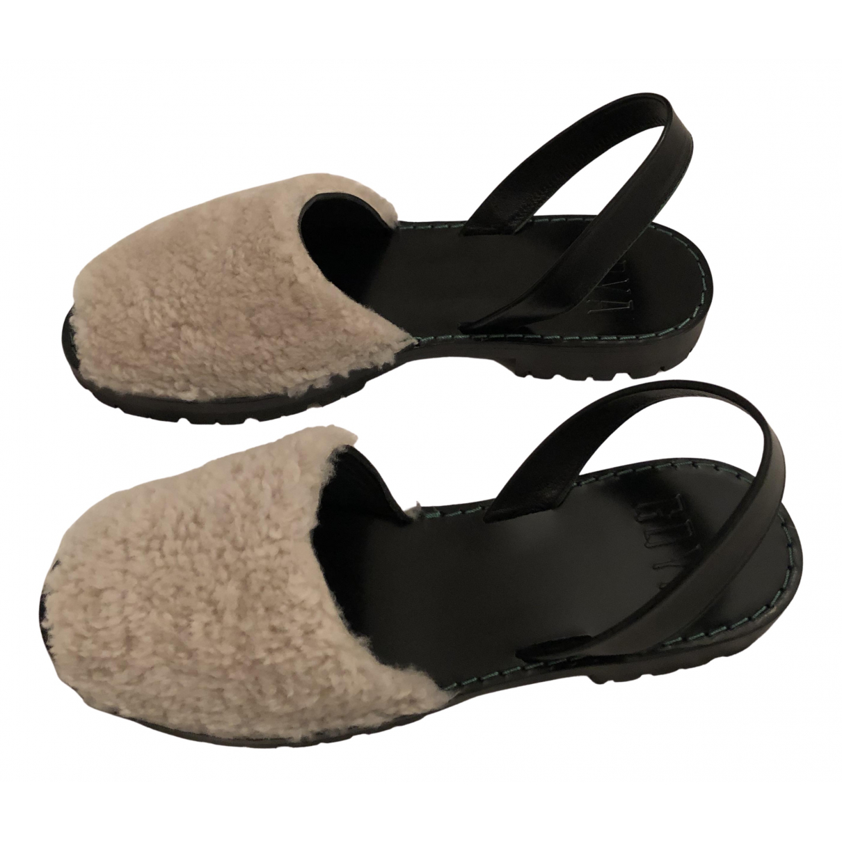 - Sandales   pour femme en mouton - beige