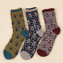 3pairs Flower Pattern Socks