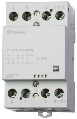 Finder , 240V ac Coil Non-Latching Relay 4NO, 63A Switching Current DIN Rail, 4 Pole