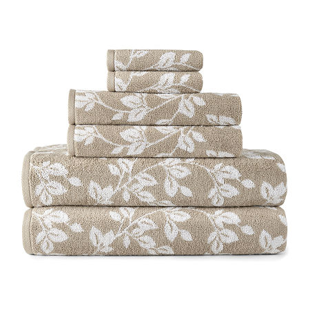 JCPenney Home Leaf 6pc Towel Set, One Size , Beige