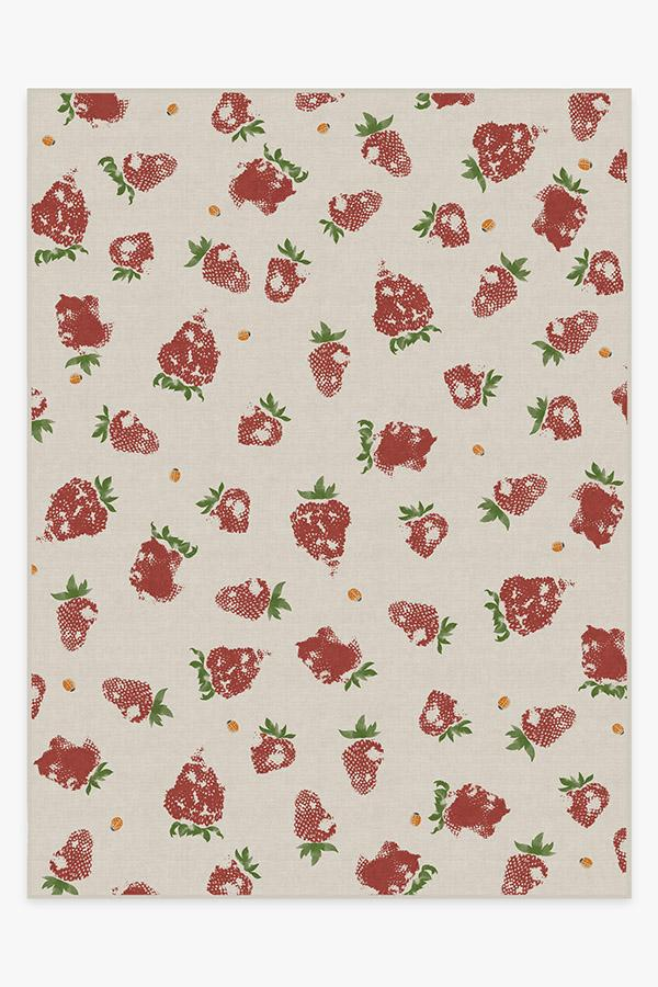 Washable Rug Cover & Pad | Strawberries Red Rug | Stain-Resistant | Ruggable | 9'x12'
