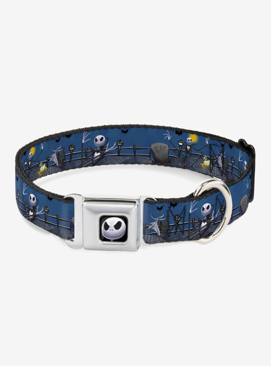 The Nightmare Before Christmas Jack Zombie Duck & Zero Cemetery Seatbelt Buckle Dog Collar