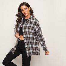 Drop Shoulder Tartan Blouse