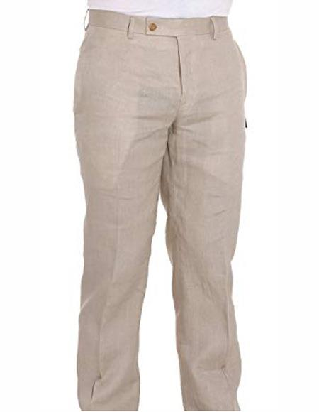 Mens Summer Linen Dress Pants Ivory Flat Front Pant