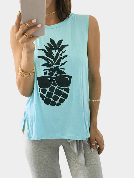 Yoins Aqua Pineapple Print Cami Top