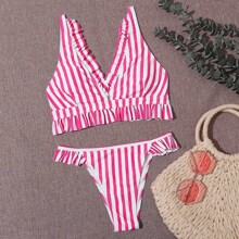 Sets de bikini Volante A rayas Rosa Dulce