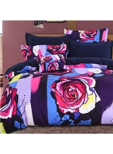 Adorila 60S Brocade Multi-Color Painting Roses Pattern 4-Piece Cotton Bedding Sets/Duvet Cover