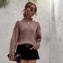 Pointelle Knit Turtleneck Drop Shoulder Sweater
