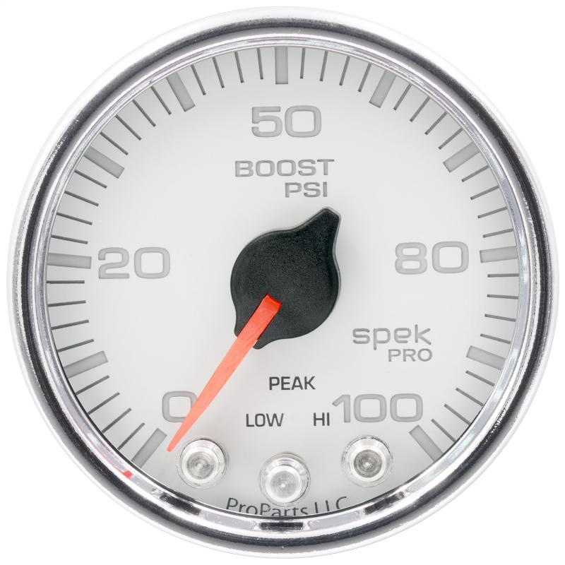 AutoMeter GAUGE; BOOST; 2 1/16in.; 100PSI; STEPPER MOTOR W/PEAK/WARN; WHT/CHRM; SPEK-PRO
