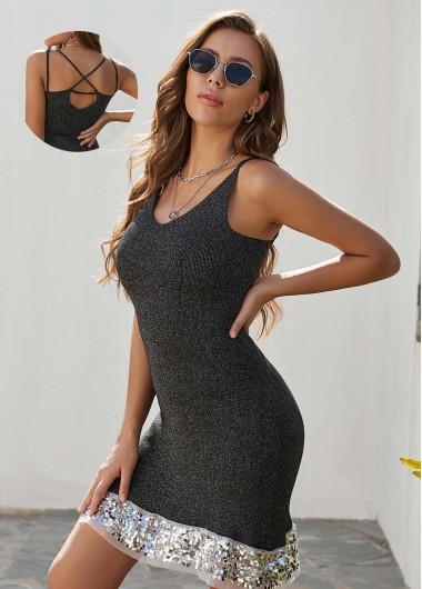 Black Dresses Sequin Panel Strappy Back Sweater Dress - L