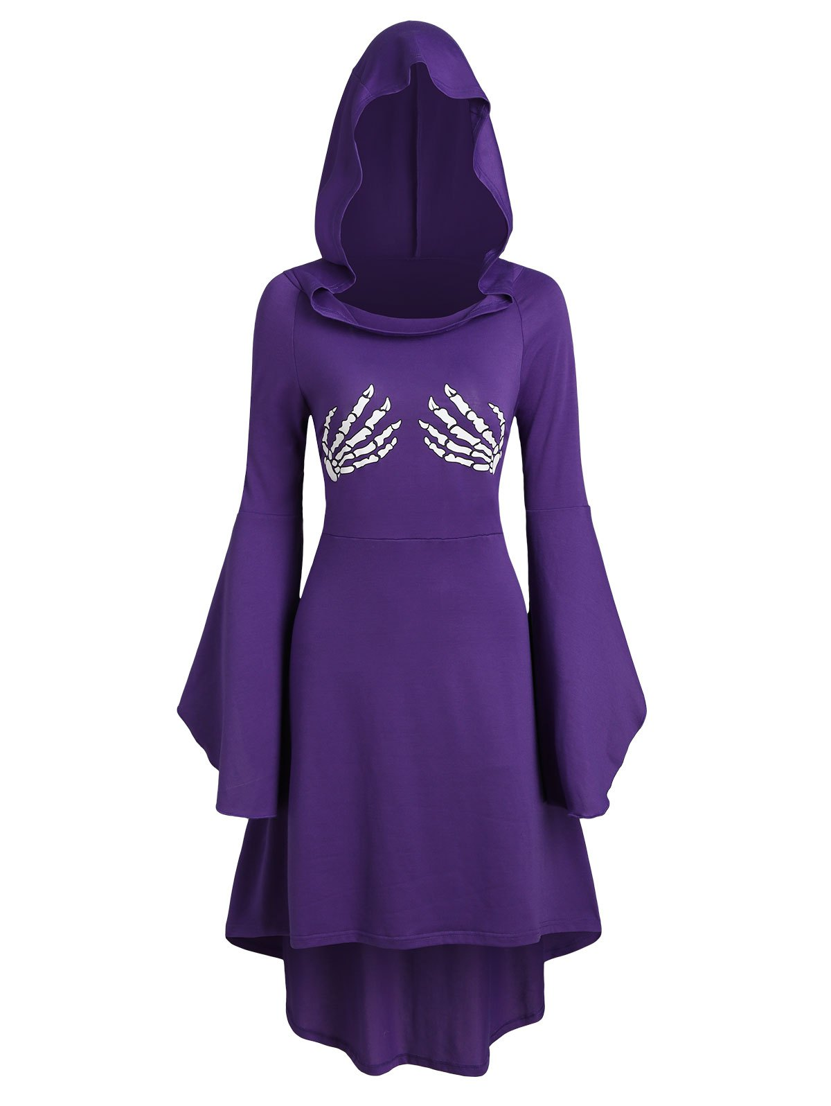 Skeleton Print Halloween Hooded High Low Dress