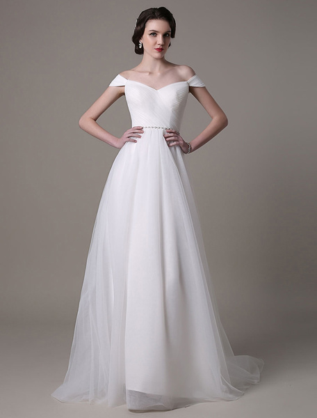 Milanoo 2020 Tulle Off Shoulder Wedding Dress With Pearls Belt And Sweep Train