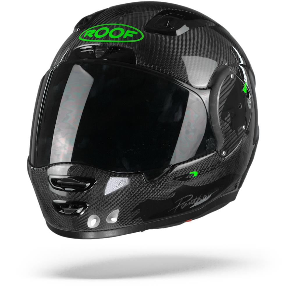 ROOF RO200 Carbon Panther Casque Integral Noir Vert Fluo L