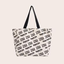 Allover Letter Graphic Tote Bag