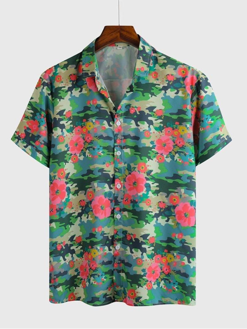 Ericdress Print Floral Lapel Mens Slim Shirt
