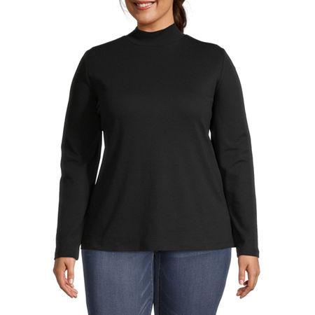 St. John's Bay Womens Long Sleeve Mock Neck Top-Plus, 5x , Black