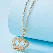 Collar con diseño de corona con diamante de imitacion