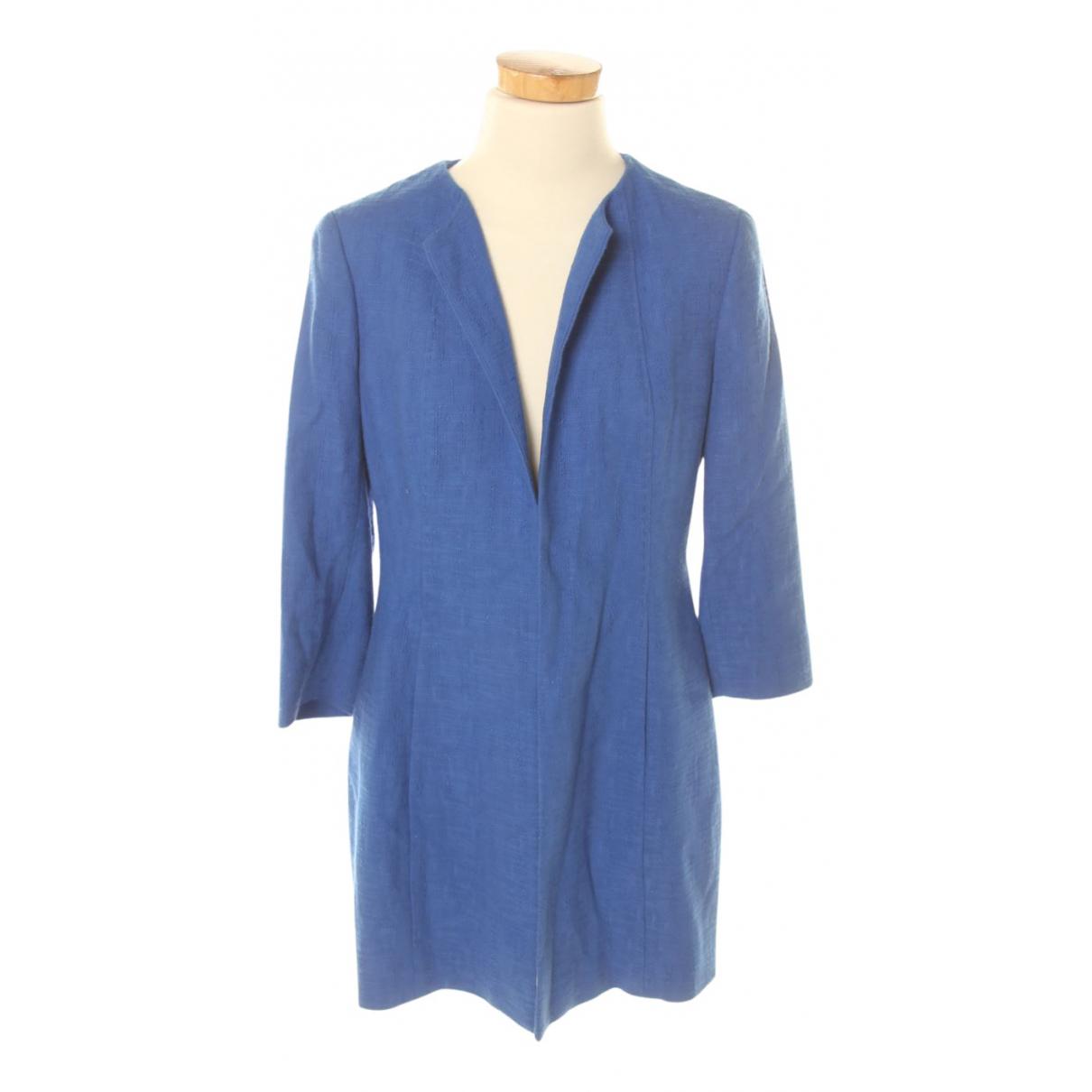 Adolfo Dominguez - Manteau   pour femme en lin - bleu
