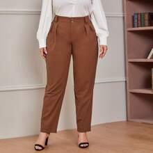 Pantalones fruncido con boton