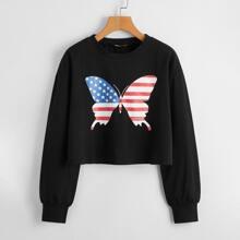Flag Print Butterfly Sweatshirt