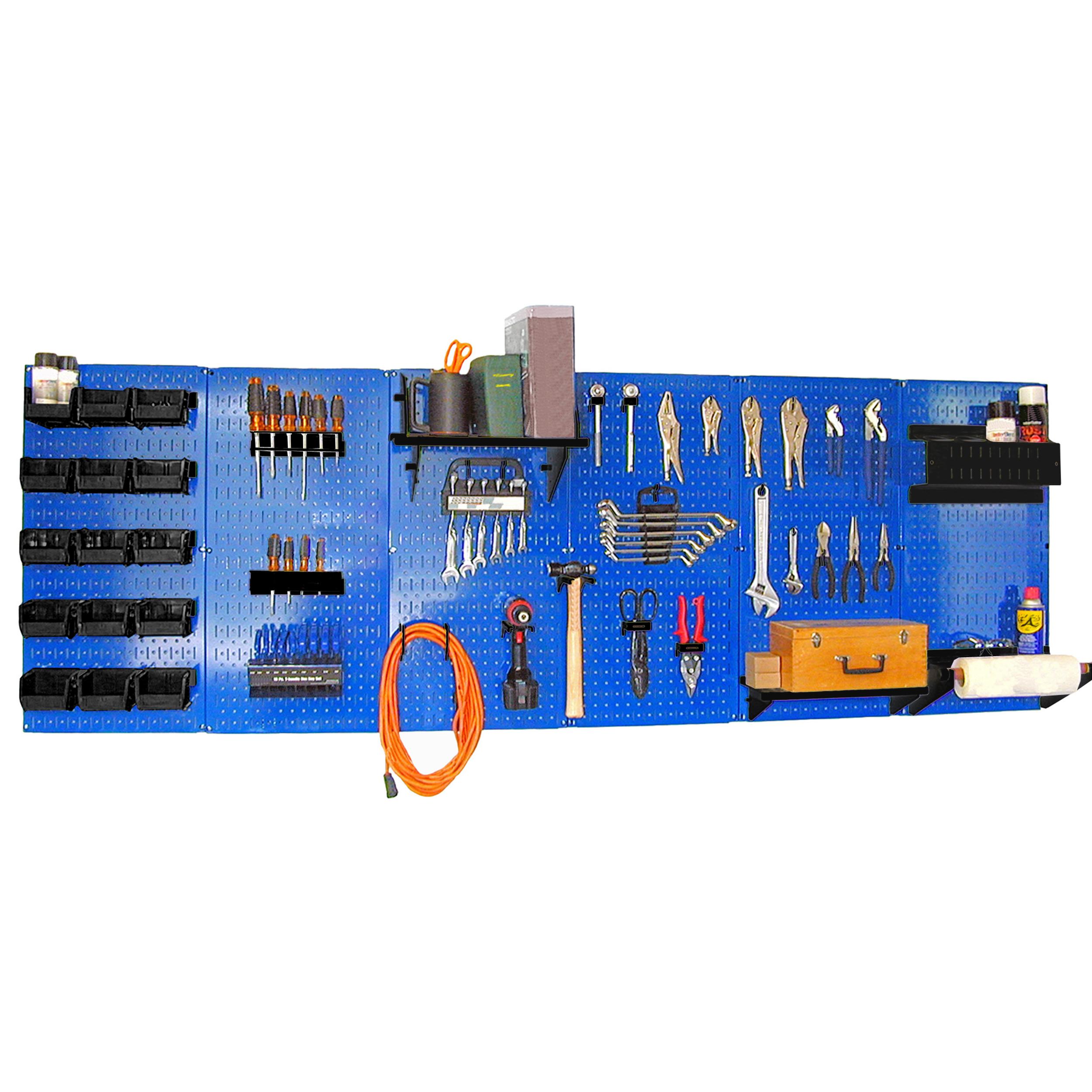 8' Metal Pegboard Master Workbench Kit - Blue Toolboard & Black Accessories
