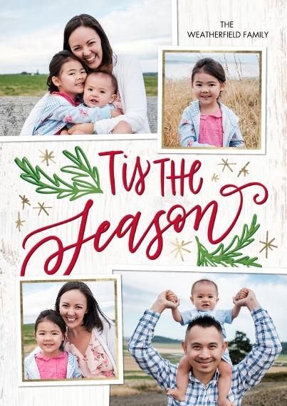 Christmas Photo Cards 5x7 Cards, Premium Cardstock 120lb, Card & Stationery -Christmas Tis the Season Stars by Tumbalina