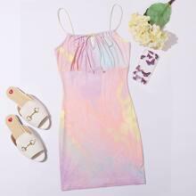 Tie Dye Tie Front Cami Dress