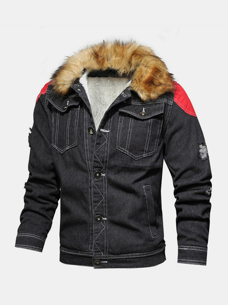 Mens Patchwork Stone Washed Fur Fluffy Collar Thick Outdoor Stylish Denim Jackets