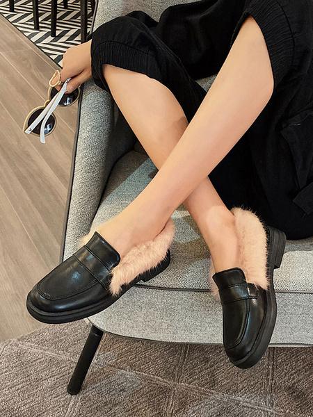 Milanoo Mocasines de mujer Negro Punta redonda Casual Cuero de PU Artificial Corto Felpa Zapatos de mujer