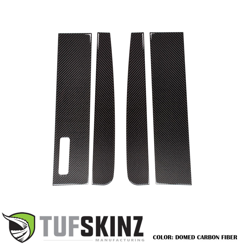 Tufskinz SUP046-FRD-DCF-G Door Pillars Fits 15- Up Ford F-150 Regular Cab with key pad 4 Piece Kit Domed Carbon Fiber