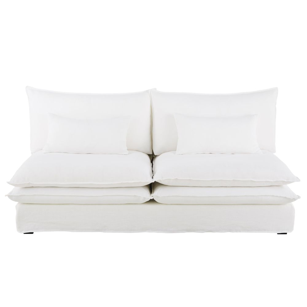 2-Sitzer-Sessel ohne Armlehnen fuer Sofa mit Leinenbezug, weiss Pompei