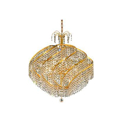 V8052D26G/EC Spiral 15 Light Gold Chandelier Clear Elegant Cut
