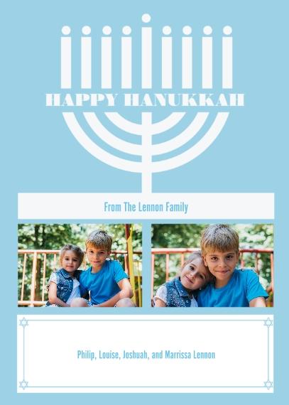 Hanukkah Photo Cards 5x7 Cards, Standard Cardstock 85lb, Card & Stationery -Modern Menorah