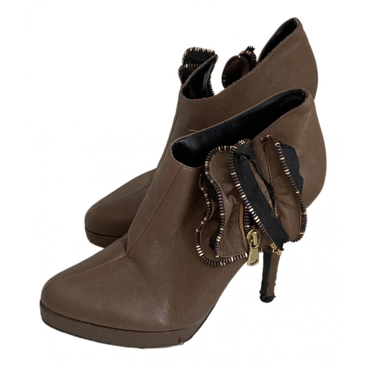 Juicy Couture - Bottes   pour femme en cuir - beige