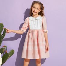 Girls Peter-pan-collar Lace Trim Two Tone Dress
