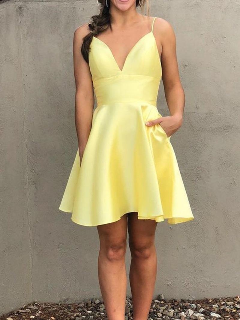 Ericdress Short Sleeveless Pockets A-Line Homecoming Dress