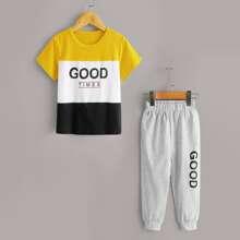 Kleinkind Jungen T-Shirt mit Buchstaben Grafik, Farbblock & Jogginghose